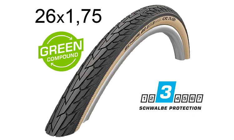Покрышка Schwalbe 26x1.75 (47-559) ROAD CRUISER K-Guard Active B/G HS484 GREEN 50EPI