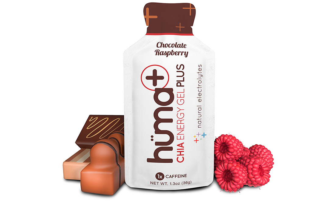 Гель энергетический HUMA Chocolate & Raspberry (шоколад, малина) с электролитами с кофеином