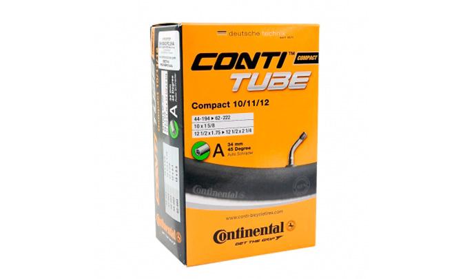 """Камера Continental Compact 10/11/12"""", 44-194 -> 62-222, AV34 мм угловой нипель под 45°"""