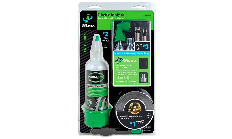 Ремкомплект для бескамерных покрышек (Герметик, уплотнительная лента, балон СО2 (2 шт), клапан для СО2 ), Slime